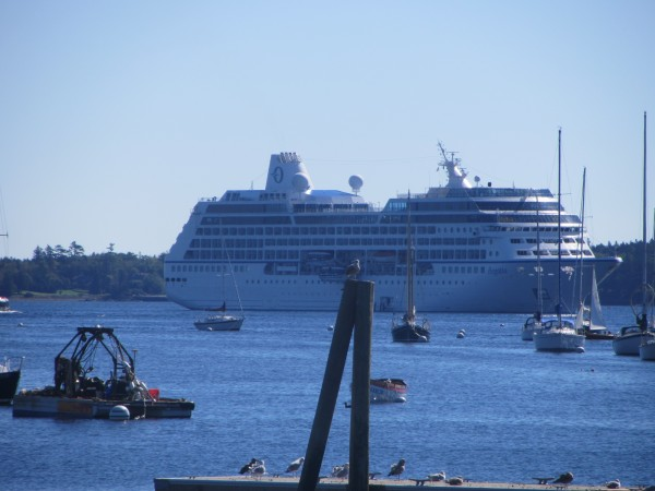 The 590-foot long MS Regatta cruise ship made a port call in Rockland Harbor on Sunday. The cruise ship is scheduled to leave at 11 p.m. Sunday.