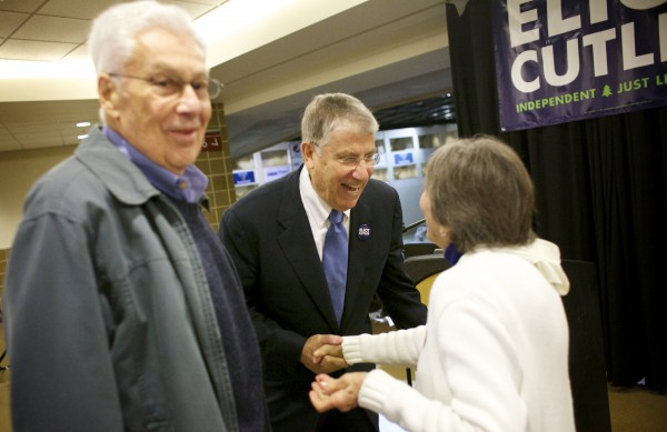 Eliot Cutler (center) speaks with Mel Braverman (left) and Barbara Braverman (right) before announcing his candidacy for governor of Maine Tuesday morning at the Cross Insurance Center in Bangor.