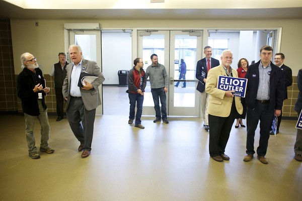 Supporters and attendees arrive during Eliot Cutler's announcement that he will run for governor of Maine Tuesday morning at the Cross Insurance Center in Bangor.