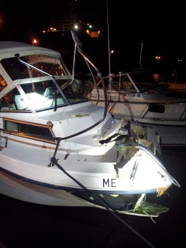 The recreational boat, Miss M, after it collided with the water taxi on Portland Harbor Sept. 7, 2013.