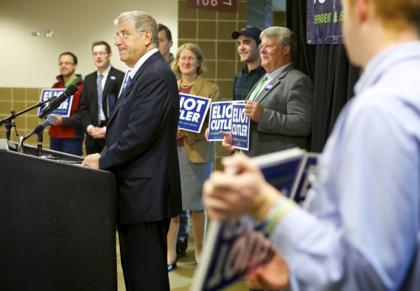 Eliot Cutler announced his candidacy for governor of Maine Tuesday morning at the Cross Insurance Center in Bangor.
