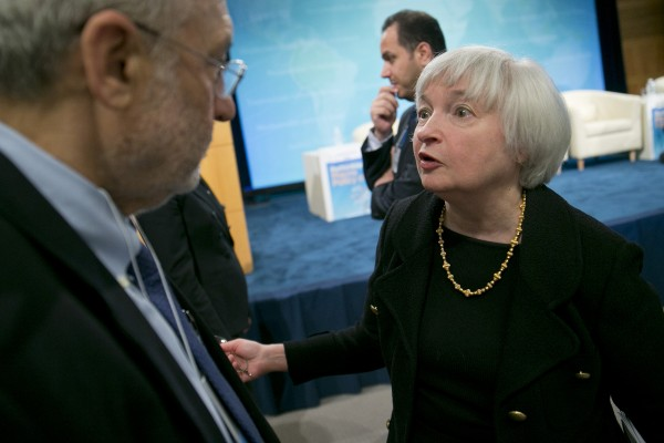Janet Yellen (right), vice chairman of the Federal Reserve, speaks with Nobel-winning economist Joseph Stiglitz on April 16 in Washington at the International Monetary Fund and World Bank Group Spring Meetings.
