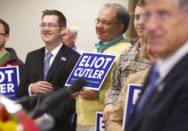 Bangor Councilor Ben Sprague (left) introduced Eliot Cutler Tuesday morning before Cutler announced his candidacy for governor of Maine at the Cross Insurance Center in Bangor. Also pictured is Cutler supporter Skip Greenlaw (center).