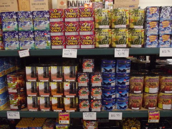 Assorted fireworks products in Black Bear Fireworks store in Machias.