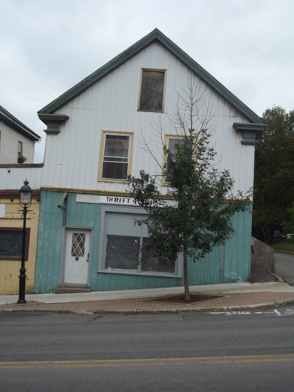 Calais City Councilor Anne Nixon called this leaning building on North Street near Main Street an 'eyesore' that 'shouldn't be allowed.' Assistant city manager Jim Porter, the city's code enforcement officer, says the building has been braced in the interior and is structurally sound.