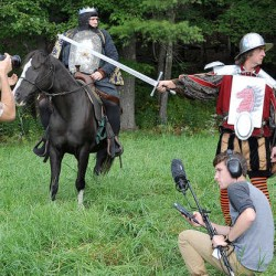 "A scene is filmed for the movie ""Richard 3"" in a field in Buckfield on Saturday."