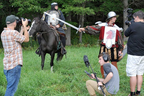 A scene is filmed for the movie &quotRichard 3&quot in a field in Buckfield on Saturday.