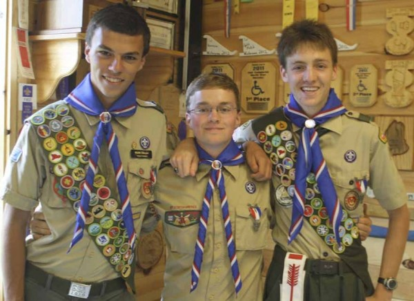 Caribou High School seniors Keith Draper (from left), Daniel Powers and Alexander Murchison, were all officially given their Eagle Scout rank on Sept. 8 during an Eagle Scout Court of Honor held at Troop 184's Scout Hall in Caribou.
