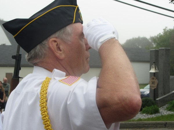 John Weatherby stands at attention during Rockland's ceremony on the anniversary of the terrorist attacks of Sept. 11, 2011.