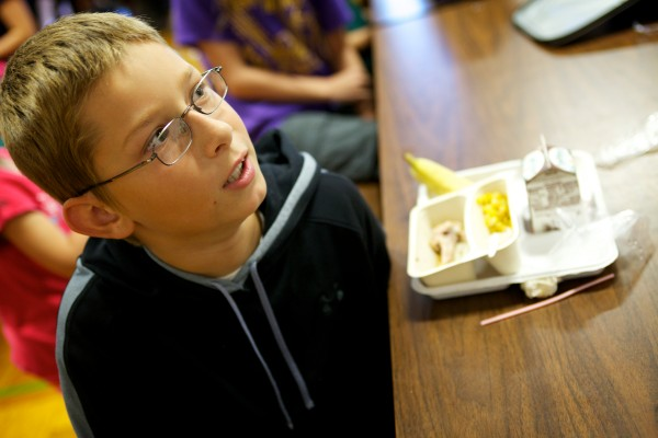 Levi Franck, 10, talks about his lunch at Longfellow Elementary School in Portland on Thursday. &quot€œI like how every time I eat something there'€™s a vegetable to eat,&quot he said.