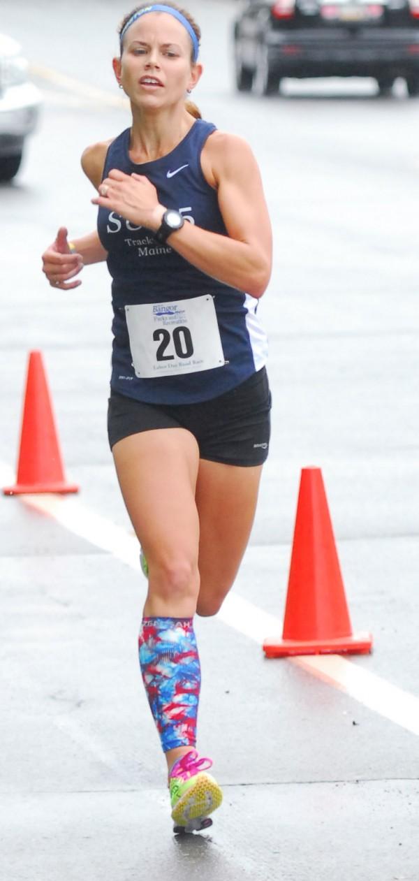 Sarah Mulcahy of Baring Plantation, winner of the 2013 Labor Day Road Race in Bangor.
