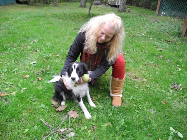 Wendy Rolerson McCusker kneels with her border collie, Lexi, recently at her home on the Youngtown Road. McCusker believes that Lexi had a scary encounter recently with several coyotes in the woods nearby.
