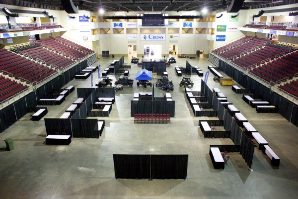 Vendors start setting up for the BDN Maine Man Expo Friday morning in Bangor.