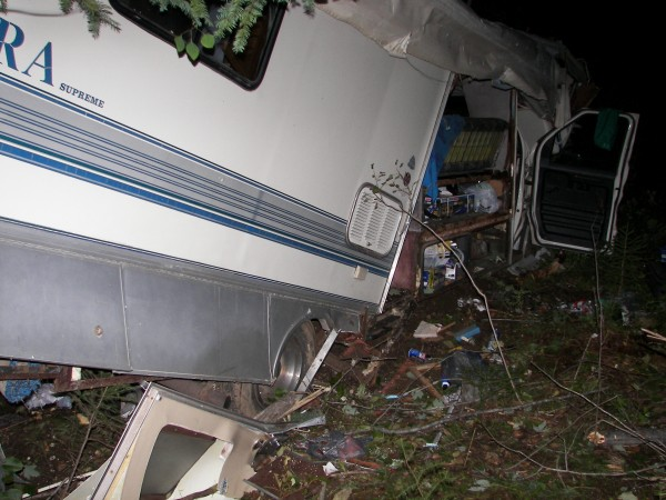 Three Canadian men were injured early Monday when their motorhome crashed through a guardrail on Route 2 as the vehicle exited I-95 for a construction detour in Island Falls. All three were transported to Houlton Regional Hospital to be treated for unspecified injuries. The crash remains under investigation.