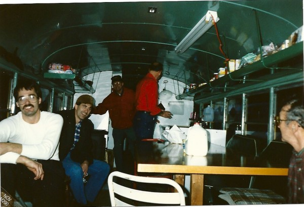 Back in 1990, a group of local hunters used a bus they called &quotChristian&quot their hunting camp. &quotChristian&quot was a clean and organized bus. &quotHeathen,&quot another bus they owned, wasn't. Shown are hunters Ted Drinkwater (from left), Gary Drinkwater, Jerry Drinkwater, Alton Drinkwater and Don Drinkwater.