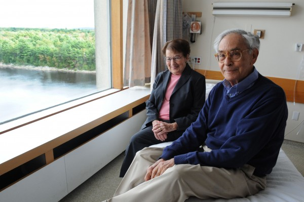 Leonard and Renee Minsky sit in the hospital room that sparked a million-dollar donation to EMMC in Bangor. Leonard experienced a stay in the hospital where he overheard a cancer diagnosis to the patient next to him and he felt uncomfortable. The Minsky's donation will help EMMC build more private rooms.