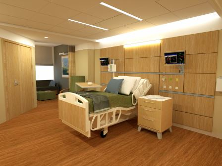 A rendering of a future private room at Eastern Maine Medical Center in Bangor. The hospital will add more private patient rooms as part of a $250 million expansion project.