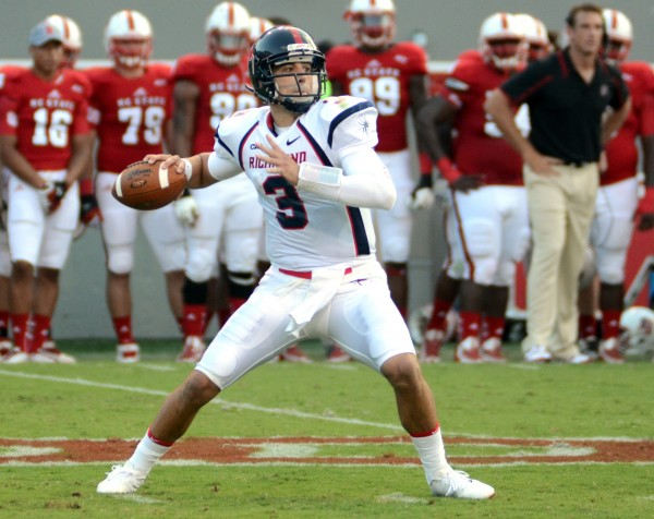 Richmond Spiders quarterback Michael Strauss throws a pass against the North Carolina State Wolfpack during their game on Sept. 7 in Raleigh, N.C. Strauss will direct the Spiders against the Maine Black Bears in their game at 3:30 p.m. Saturday in Richmond, Va.