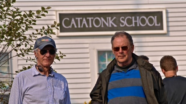 Robert Mrazek (left), writer and producer of the film &quotCatatonk Blues,&quot works with director Jared Martin on Monhegan Island, where scenes from the film were shot.