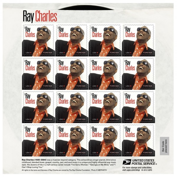 The United States Postal Service released a stamp in honor of Ray Charles, as pictured in this undated handout image courtesy of the United States Postal Service.