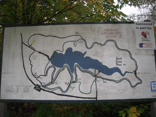A trail map painted by Van Buren Water District summer interns Kyla Leplante and Nicole Corbin in 2002 still provides a guide to the network of trails surrounding a reservoir on Cyr Plantation.