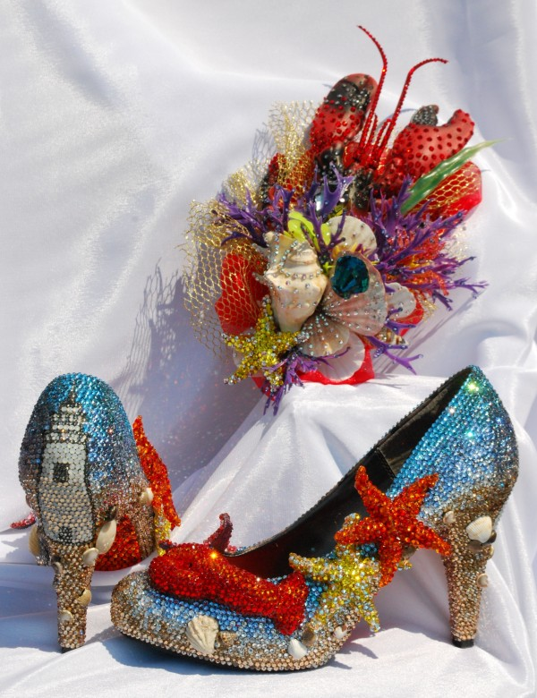 The Maine-themed crystal shoes and fascinator Miss Maine Kristin Korda will wear at the Miss American Parade next week are designed by bling queen Sondra Celli.