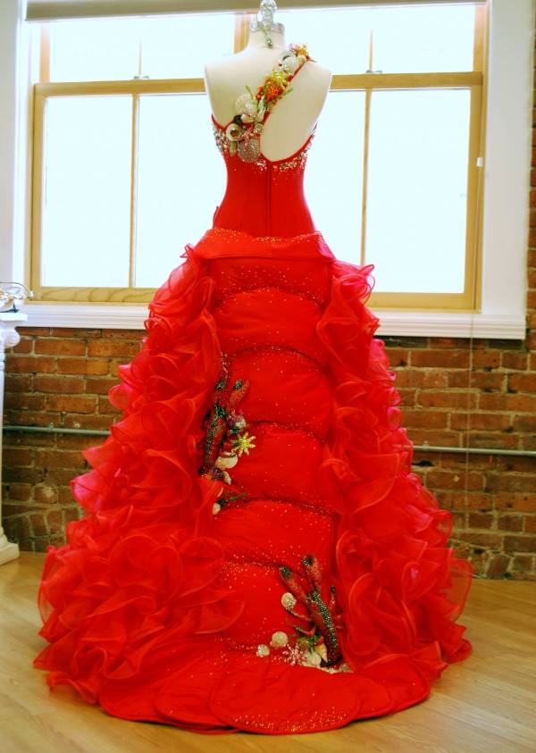 The Maine-inspired dress Miss Maine Kristin Korda will wear at the Miss America Parade next Saturday in Atlantic City. It's made of Swarovski crystal-covered crustaceans.