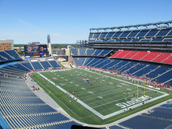 The football teams from the Universities of Maine and Massachusetts go through pregame warmups for Saturday's game at Gillette Stadium in Foxborough, Mass. The Black Bears knocked off the Minutemen 24-14.