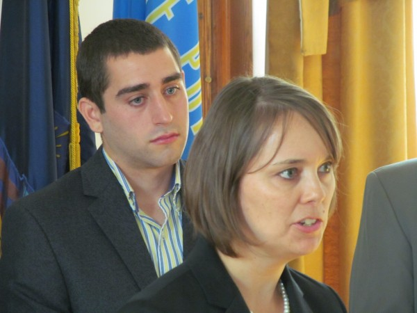 Shenna Bellows, executive director of the American Civil Liberties Union of Maine, speaks during a Thursday morning news conference at Portland City Hall while David Boyer of the Marijuana Policy Project looks on. The two organizations were part of a coalition launching a campaign to legalize possession of marijuana in Maine's largest city.