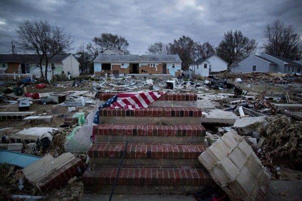 Debris surrounds the front steps of a home in Union Beach, N.J., that was destroyed last November in Hurricane Sandy.