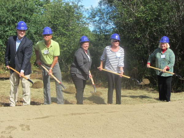 Groundbreaking ceremonies were held Sunday afternoon for the Pen Bay Healthcare hospice house in Rockport. Digging the ceremonial first shovelfuls of dirt were some of the top donors to the project. They were Greg Dufour (from left) of Camden National Bank, Dyke Messler, Brenda Gagnon from the Bob Gagnon Cancer Fund, Ann Bresnahan, and Linda Bean.