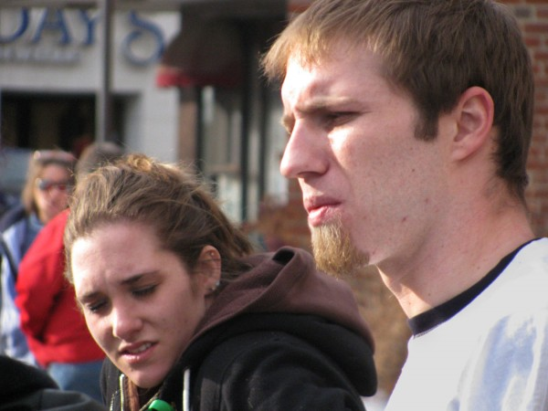 Ayla Reynolds' parents, Trista Reynolds and Justin DiPietro, speak to a reporter in early 2012 at a prayer vigil for the missing toddler held at Castonguay Square in Waterville.