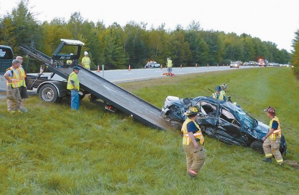 Traffic was reduced to one lane for about three hours Sunday afternoon after a vehicle rolled over on Interstate 295 in Bowdoinham. A passenger in the car, a 9-year-old Massachusetts girl, remained in critical condition at Maine Medical Center Monday.