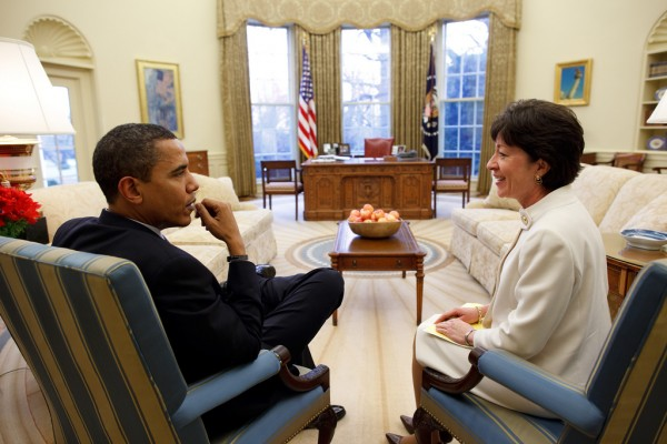Sen. Susan Collins talks with President Barack Obama in the Oval Office.