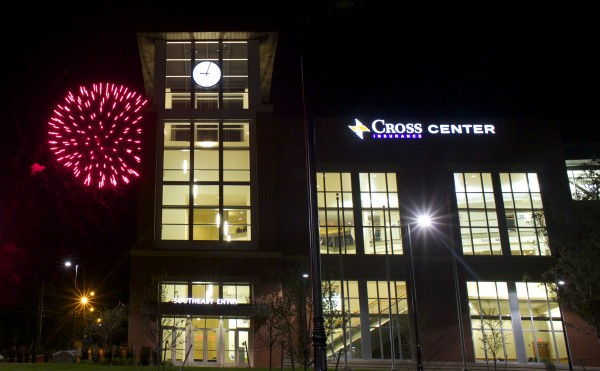 Fireworks light up the sky over the Cross Insurance Center on Main Street in Bangor Saturday night after a public open house for the new building. Brian Feulner | BDN