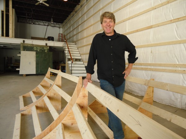 Rory Strunk oversees the building of a cyc stage at Global Studios and Maine Media Hub. The state's first digital media studio opens in late-October on Danforth Street in Portland.