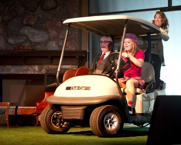 Bernard Hope, Christie Robinson (in the golf cart) and AJ Mooney in Penobscot Theatre Company's production of &quotThe Fox on the Fairway.&quot