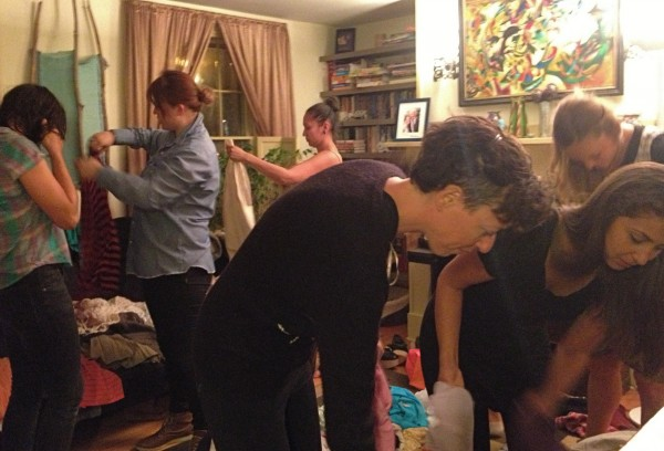 Swappers gather in a Portland living room this week to share clothes and socialize.