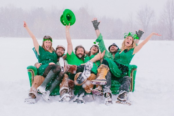 Portland photographer Emily Delamater submitted this photograph — of her, her two sisters and the women's husbands dressed in green during a snowstorm in March — to a contest offering a top prize of a trip for six to Ireland. Delamater won and took the trip in July.