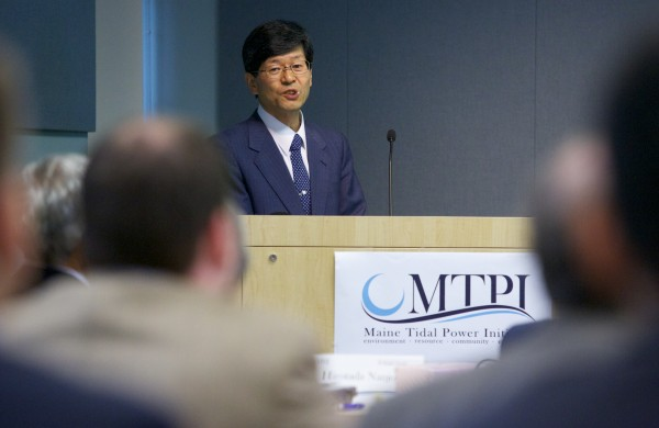 Munekatsu Shimada, a professor from the North Japan Research Institute for Sustainable Energy, talks about the current state of ocean development in Aomori Prefecture in Japan. Officials from Japan, including the president of Hirosaki University, are visiting UMaine for the second Marine Energy International Symposium.