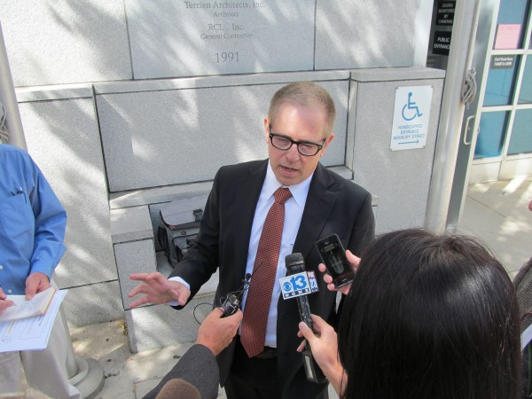 Defense attorney James Howaniec talks to reporters outside the Cumberland County courthouse Monday afternoon. His client, Kristina Lowe, faces multiple charges, including two counts of manslaughter, for her role in a Jan. 7, 2012, car crash.