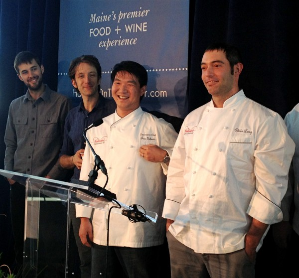 Chefs competing at Harvest on the Harbor were announced in Portland on Thursday. From left, Chad Conley of Gather in Yarmouth,  David Levi of Vinland in Portland and Job Gaboric and Chris Long of Natalie's at The Camden Harbour Inn.