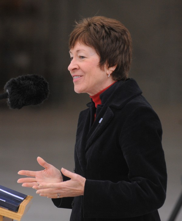 In this October 2012 file photo, U.S. Sen. Susan Collins speaks during the opening ceremony of the new hangar at the 101st Air Refueling Wing base in Bangor.