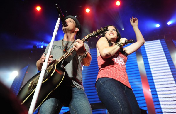 The married duo of Keifer and Shawna Thompson, playing under the name Thompson Square, open for Luke Bryan at the Darling's Waterfront Pavilion along the Bangor Waterfront on Saturday.