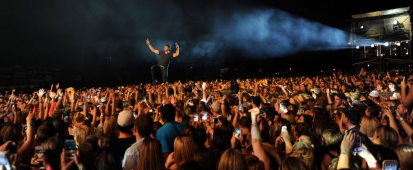 Luke Bryan performs to a sold-out crowd at the Darling's Waterfront Pavilion along the Bangor Waterfront on Saturday.
