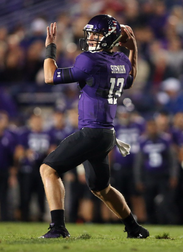 Northwestern Wildcats quarterback Trevor Siemian (13) throws a pass against the Western Michigan Broncos during the third quarter at Ryan Field in last Saturday's game. Northwestern hosts the Maine Black Bears at 3:30 p.m. Saturday.