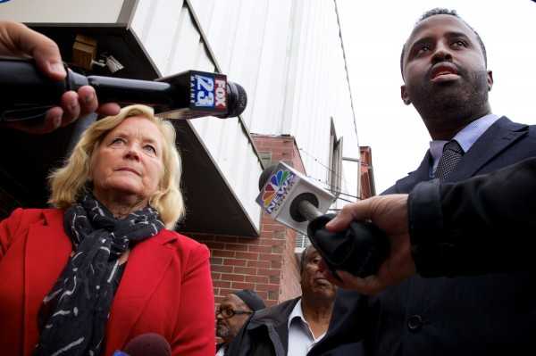 U.S. Rep. Chellie Pingree, D-Maine, and Deering High School teacher Abdullahi Ahmed speak outside the Islamic Society of Portland Tuesday. They both dismissed any terrorism links between Portland and al Shabab.
