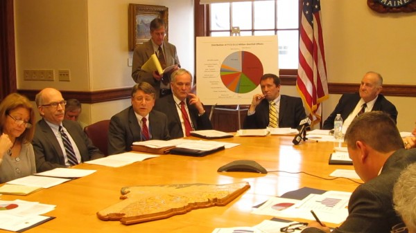 Members of Gov. Paul LePage's cabinet present LePage's biennial and supplemental budget proposals on Friday, Jan. 11, 2013, in Augusta. LePage did not attend the presentation.
