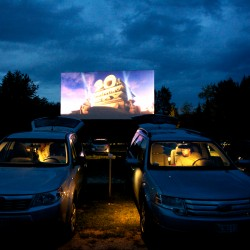 The familiar 20th Century Fox logo flashes on the screen at the Bridgton Twin Drive-In as summer trails off into autumn. Owner John Tevanian has plans to convert to digital projectors over the winter.