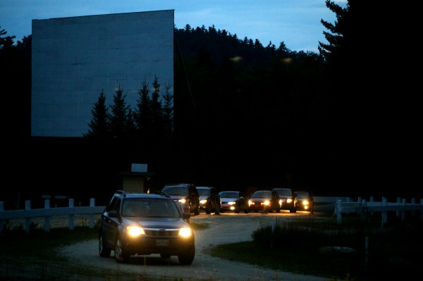 Cars pass screen one as they enter the Bridgton Twin Drive-In on their way to screen two. Owner John Tevanian has been gearing up for the switch to digital projectors for a few years and plans to convert in the off-season.